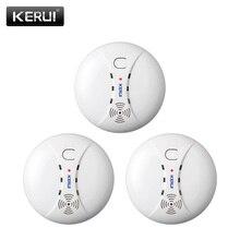 KERUI 3 adet 433MHZ ev mutfak güvenlik kablosuz yangın duman dedektörü duman sensörü alarmı GSM Wifi Alarm sistemi