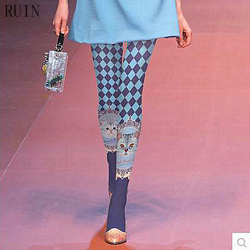 RUIN women s tights High-grade printing stockings cat plaid pantyhose fashion catwalk elegant tights