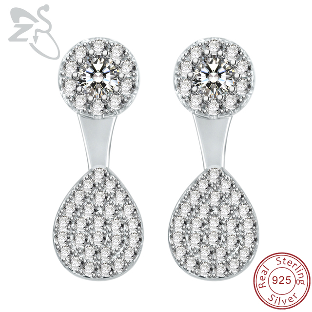 0cced8867 925 Sterling Silver Front Back Earring for Women Girls Paved AAA Cubic  Zirconia Post-hanging Earrings Wedding Party Stud Earring