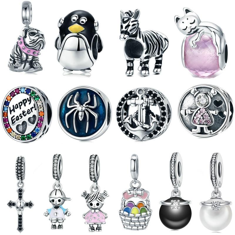 INBEAUT Women Trendy Bracelet Cute Little Girls Boys Beads 925 Sterling Silver Lovely Penguin Zebra Charms fit Pandora Bracelet