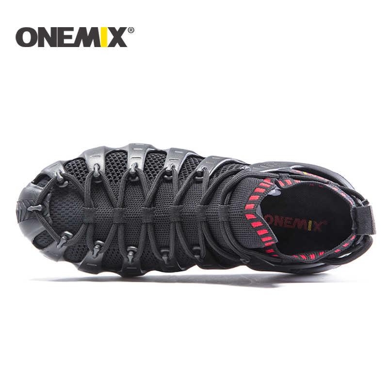Onemix erkekler ve kadınlar koşu ayakkabıları plaj ayakkabısı çok fonksiyonlu spor ayakkabı koşu ayakkabı açık yürüyüş ayakkabısı sandalet terlik