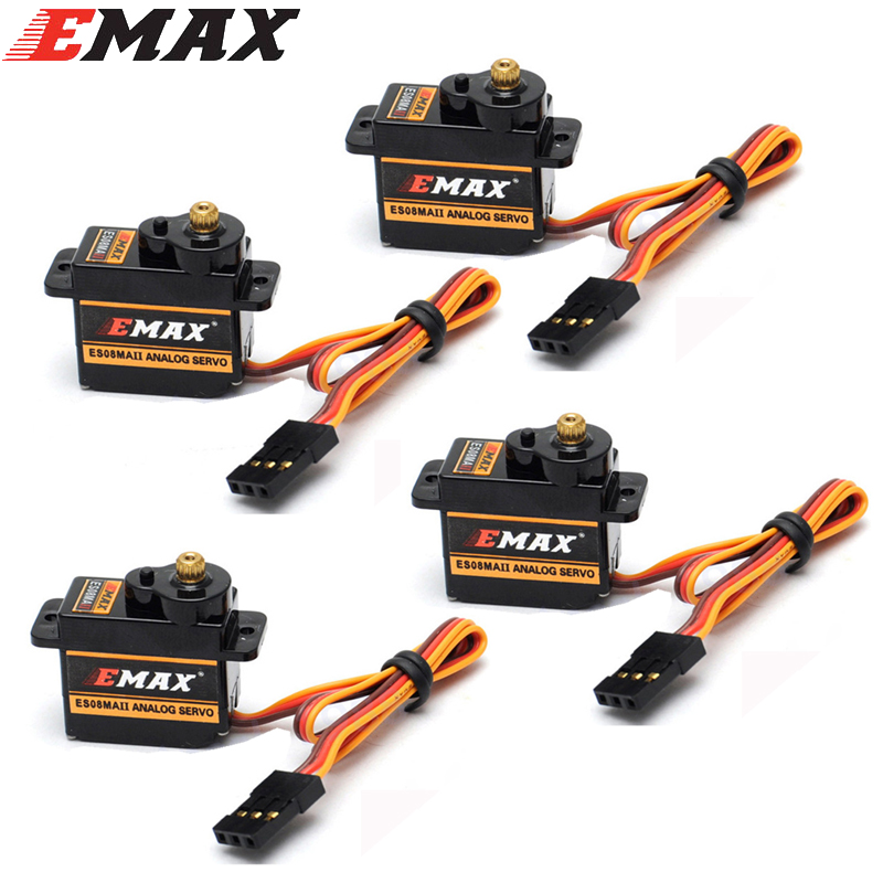 4pcs/lot 100% Orginal EMAX ES08MA II Mini Metal Gear Analog Servo 12g/ 2.0kg/ 0.12 Sec Mg90S 1pc original emax es08ma ii mini metal gear analog servo 12g 1 8kg high speed upgrade es08ma