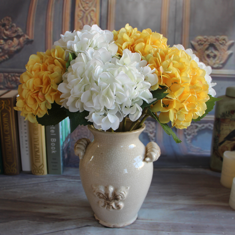 ... 2 Pcs/lot 1 Bouquet Pure White French Hydrangea Artificial Silk Flower  Arrangement Room Home