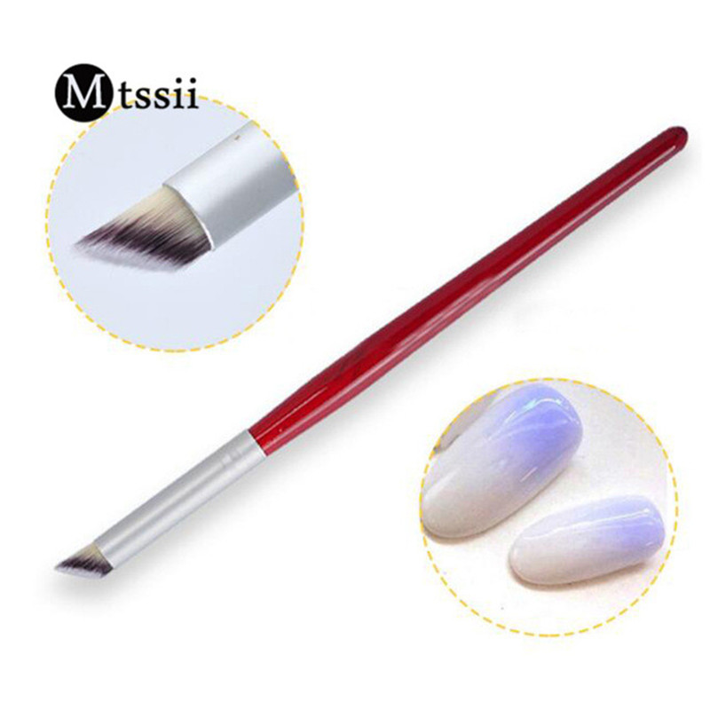 1Pc Nail Art Gradient Dizzy Dye Pen Brush Wood Handle Angled Nail Tool Professional Gel Acrylic Dotting Nail Art Brush