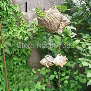 2 Pieces Fish Bell Chime - Metal Cast Iron Wind Chimes with Small Fish Free Shipping 3 Type Large Windchimes Wall Hanging Art