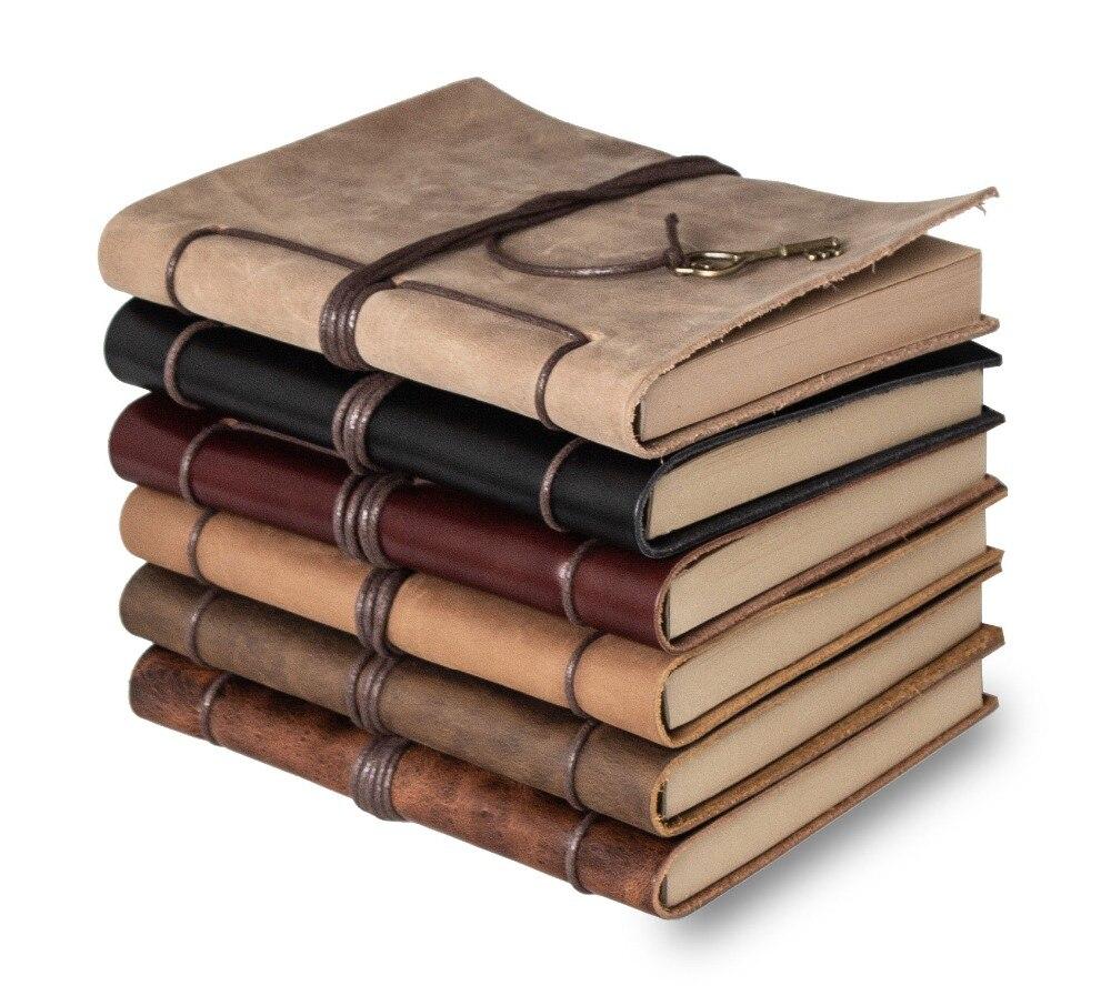 Revues de journal portable véritable en cuir Liant Sketchbook vintage Planificateur A5 Voyage note livre bureau de l'école fixe fournitures