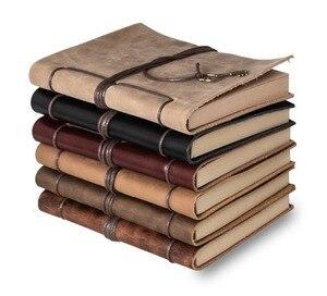 Image 1 - Riviste diario del taccuino del cuoio genuino Legante Sketchbook vintage Planner A5 Viaggi nota libro stazionario scuola di forniture per ufficio