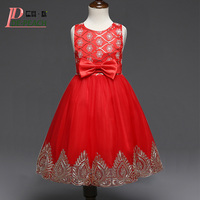 DE PEACH Embroidery Flowers Bow Girl Party Dress Summer Vestidos Baby Kids Clothes Girls Princess Lace