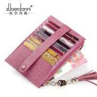 革掛け金カードバッグ超薄型クレジットカードホルダー女性財布牛革マルチカード財布パッケージ2017新しいa1023