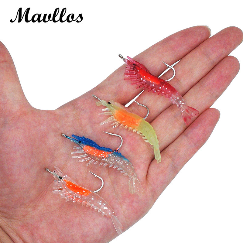 Mavllos 3pcs/lot 6.5cm 3g Artificial Luminous  Soft Shrimp Fishing Lure Silicone Bait Hooks Sea Soft Plastic Fishing Wobbles