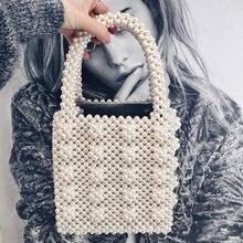 Fashion Vintage Female Top-handle Purse Small Flap Evening Bag Handmade  Pearl Lady Luxury Handbags a9b0dd955cc1
