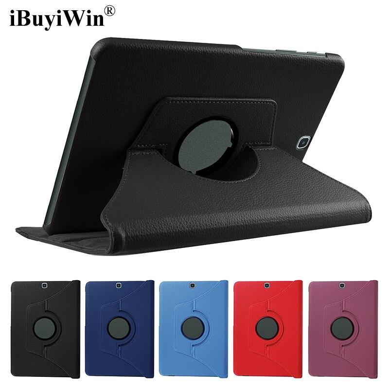 360 Cas de Rotation pour Samsung Galaxy Tab S2 9.7 T810 T815 SM-T810 PU Pliant Stand Smart Cover Tablet Cas Fundas Coque + Film + Stylo