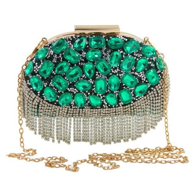 de verde Bolso a hecho piedra cristal diseño mano noche de esmeralda w1x1fE