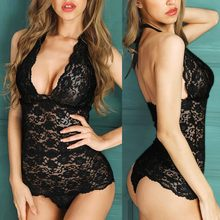 Women Lingerie Set Lace Sexy Open Back Scalloped Lace Sheer Teddy Bodysuit Romper Seksowna Bielizna Intimo Donna Sexy Hot(China)