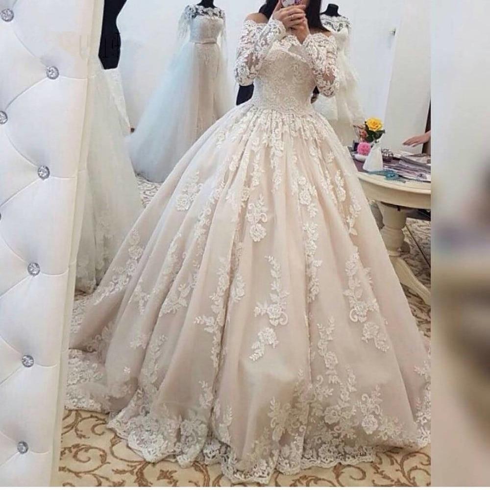 Vestido de noiva 2019 Vintage Ball Gown Wedding Dresses Boat Neck Lace Applique Long Sleeve Wedding