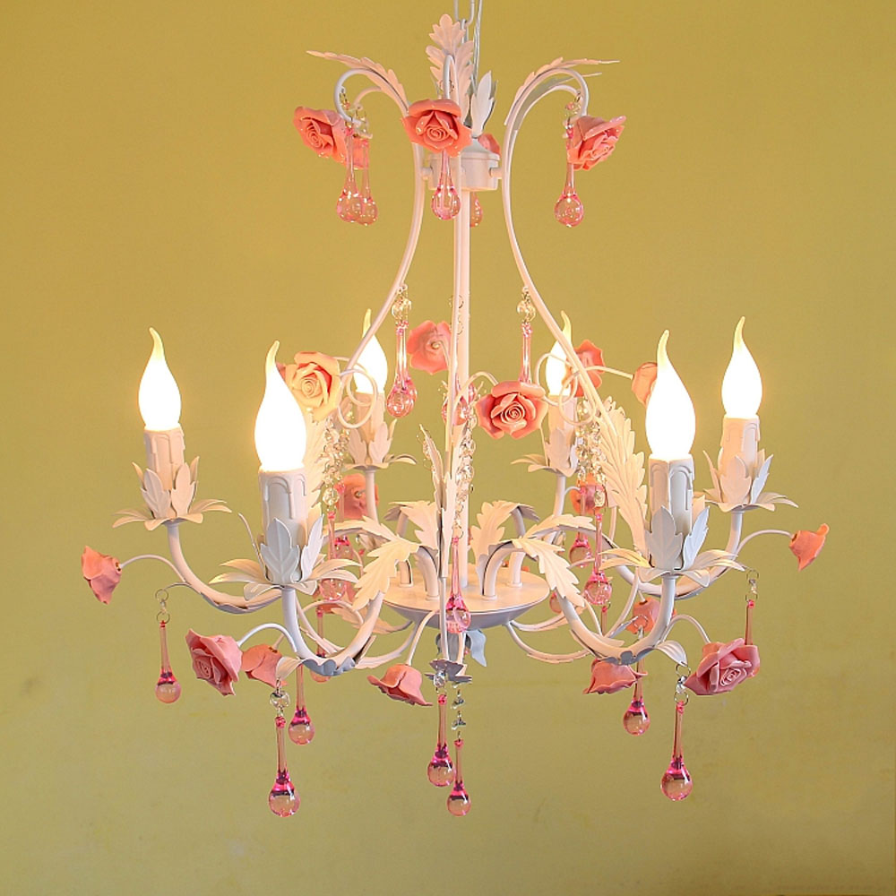 Online get cheap chandelier pink rose aliexpress alibaba group high quality products pastoral style rose flower iron 220v childrens bedroom pink crystal chandelier e14 chandelier arubaitofo Choice Image