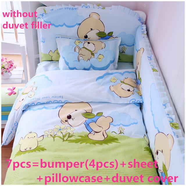 Promoção! 6 / 7 PCS conjuntos de cama de berço para meninos ropa de cuna, 120 * 60 / 120 * 70 cm