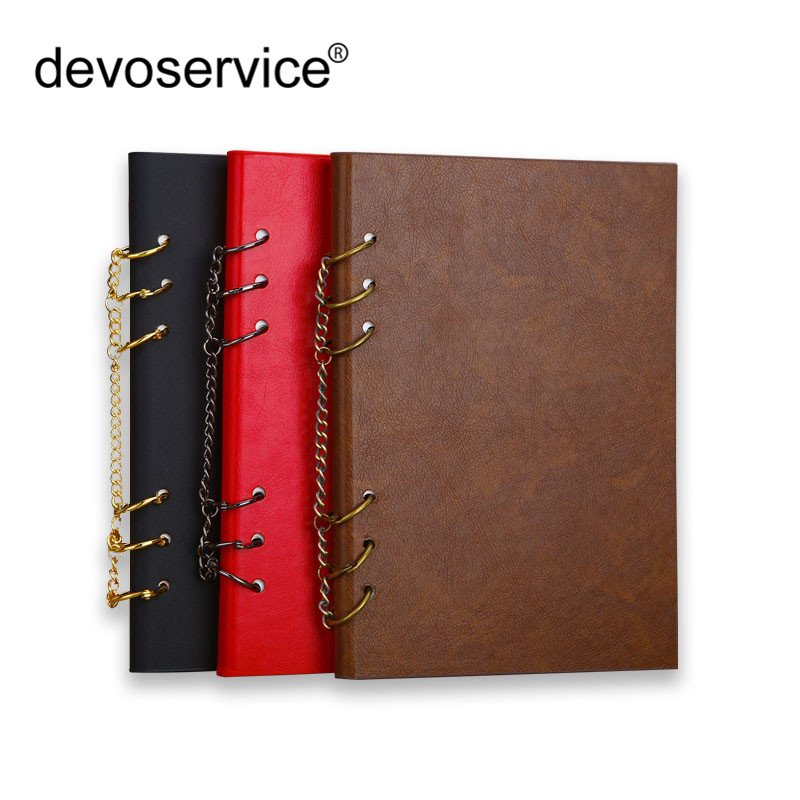 New 1Pc A4 A5 Leather Loose-leaf Notebook Journal Memos Punching Folder Notepad Booklet With Iron Ring Conference Record Booklet cambridge young learners english flyers 5 answer booklet