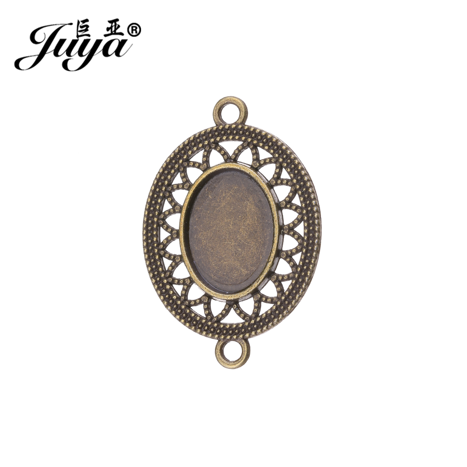 JUYA China Hollowed Cabochon Base Suppliers 13x18mm 4pcs/lot Vintage Oval Connector Cabochons Setting Blank Bezel Trays AD0200