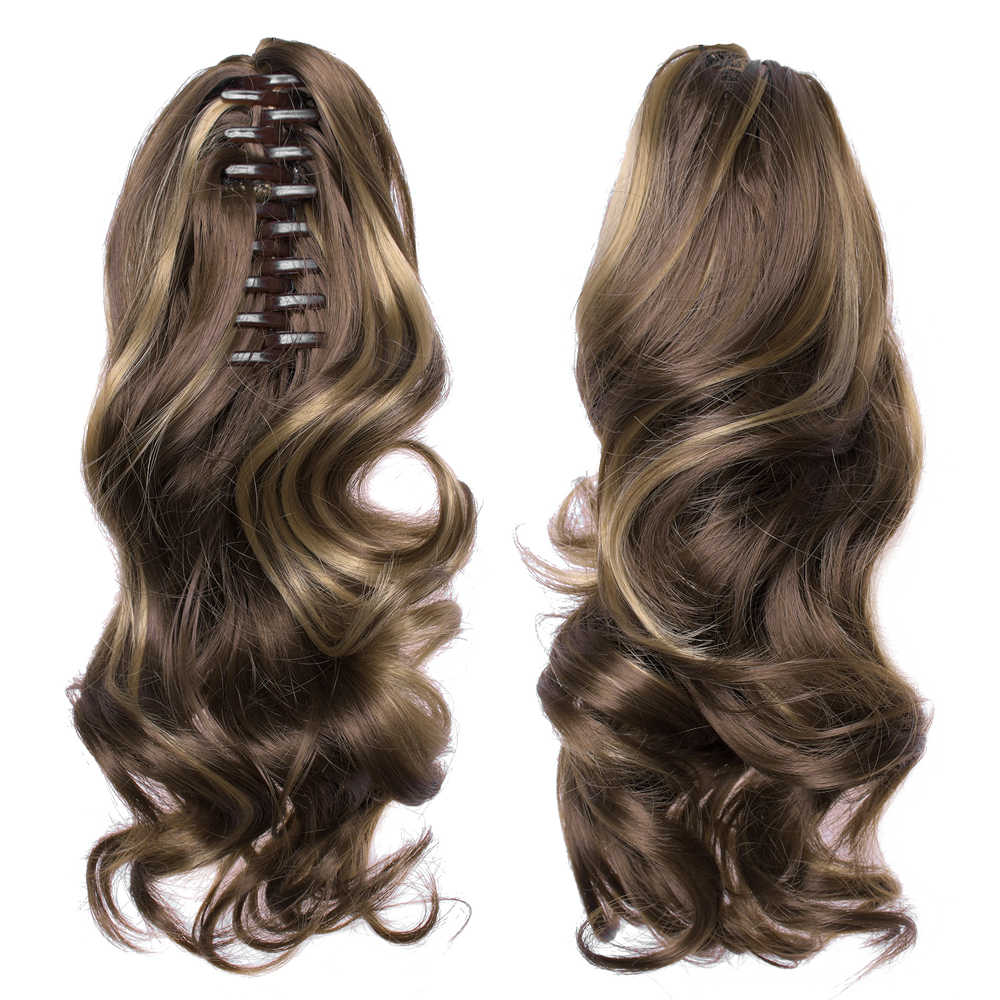 "TOPREETY Heat Resistant Synthetic Hair 90gr 14"" 35cm Wavy Claw Clip in/on Ponytail Hair Extensions CP-222"