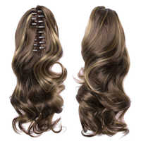 TOPREETY Heat Resistant Synthetic Hair 90gr 14 35cm Wavy Claw Clip in/on Ponytail Hair Extensions CP-222