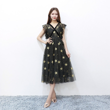 Starry Midi Bridesmaid Dress  Female V-neck Black Colour Slim Fashion Lady Wedding Party