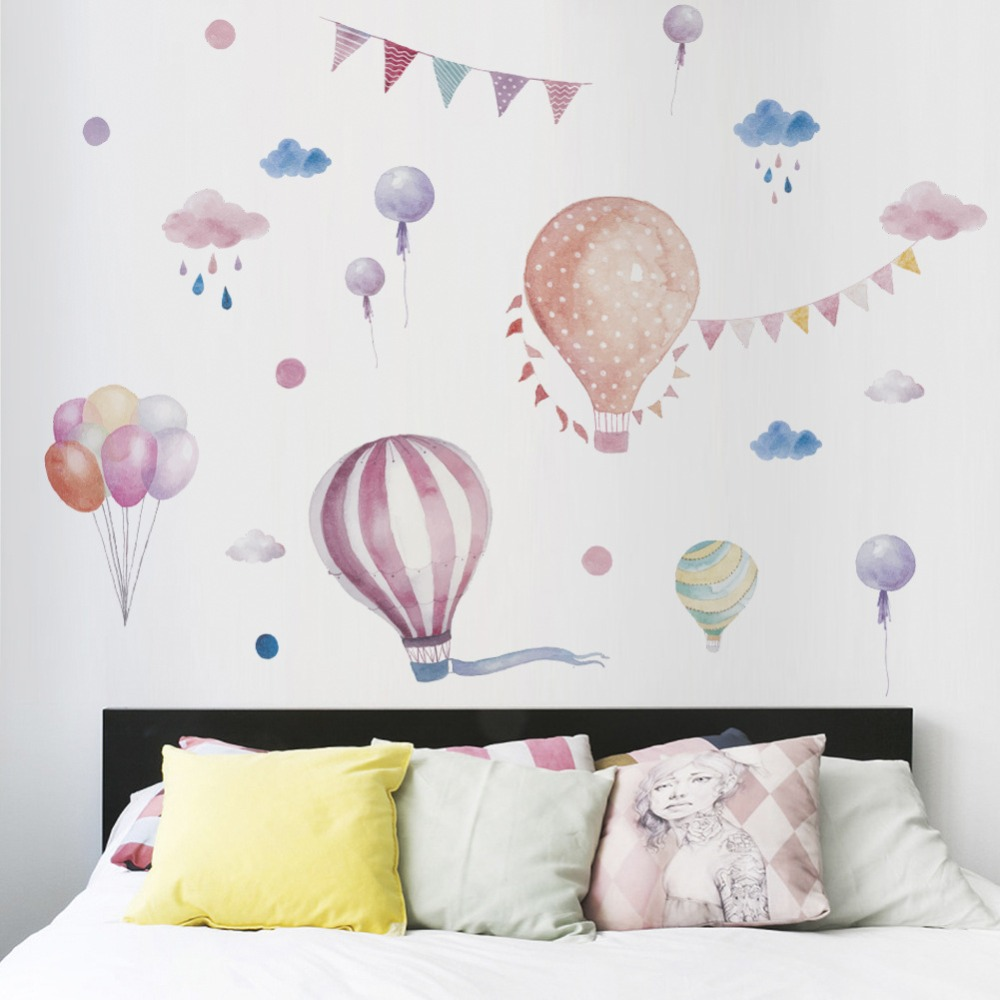 Cute Hot Air Balloon Wall Stickers For Nursery Kids Room Bedroom