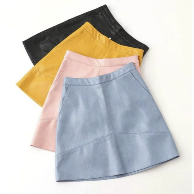 PU Leather Autumn Winter New High Waist PU faux leather women skirt pink yellow black blue zipper real photo u.s. size