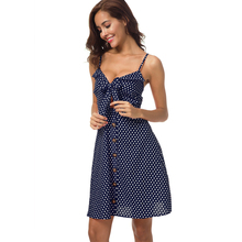 Summer casual vacation sexy dress polka dot printed sling cotton sleeveless high waist women party night vestidos