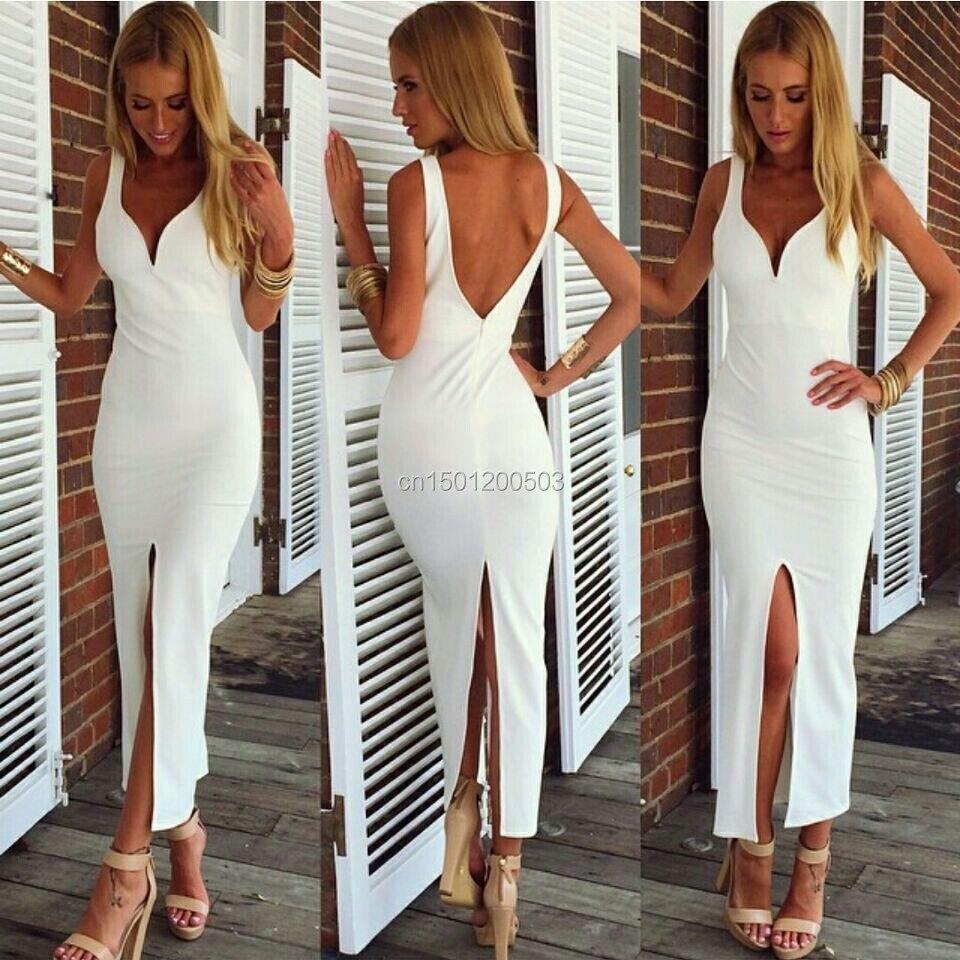 Neue mode sommerkleid 2014 weiß Schlitz Verband figurbetontes Kleid ...