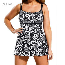 New print black one piece swimsuit plus size swim skirt with pants vintage bathing suit big monokini 6XL swimming wear
