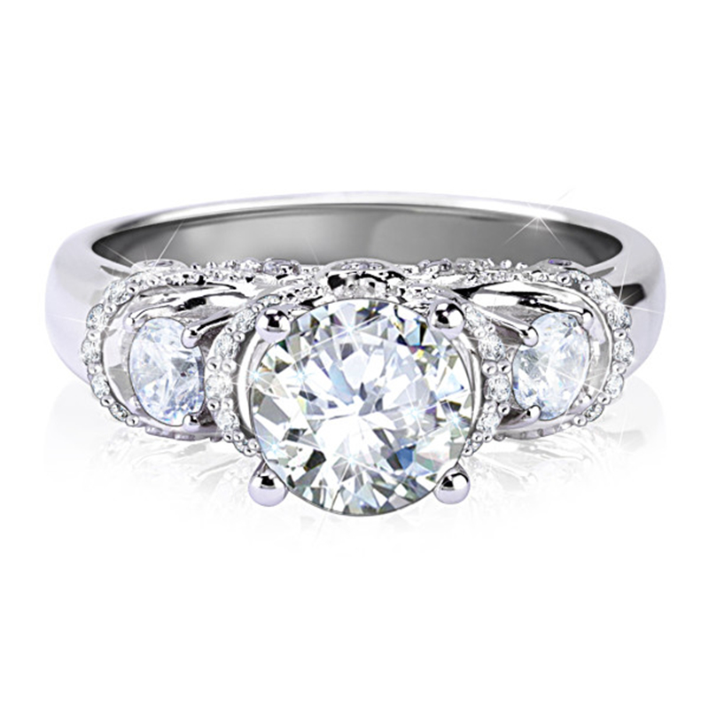 Noble Center 2 Carat Synthetic Diamond Estate Style Ring White Gold Vintage Unique Engagement Wedding Ring Bridal Ring