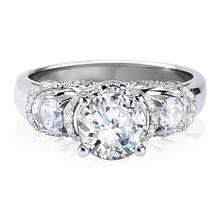 LASAMERO Noble Center 2 Carat Simulated Diamond Estate Style Ring White Gold Vintage Unique Engagement Wedding