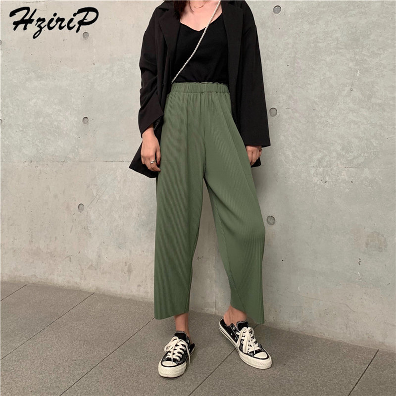 Hzirip 2019 Summer Women High Waist Casual Loose Elastic Waist Pleated Fashion Solid   Wide     Leg     Pants