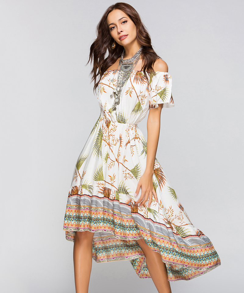 Women Summer Off Shoulder Bohemian Dress Boho Mid-Calf Wrap Dresses Casual Loose Beach Floral Print Beachwear Vestidos 10
