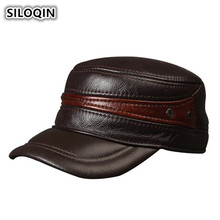 SILOQIN Winter Mens Genuine Leather Hat With Ears Cowhide Warm Baseball Caps For Men Adjustable Size Brands Flat Cap