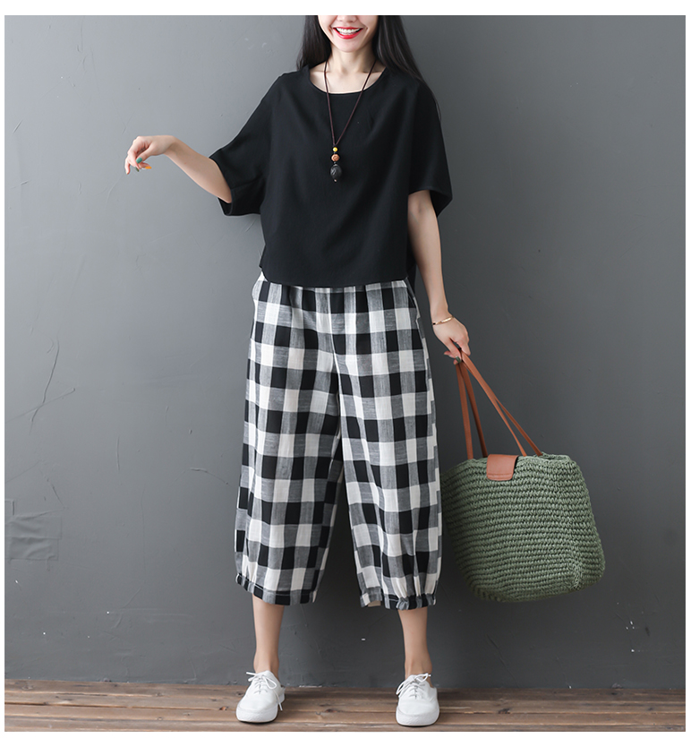 2019 Cotton Linen Two Piece Sets Women Plus Size Half Sleeve Tops And Wide Leg Cropped Pants Casual Vintage Women's Sets Suits 68