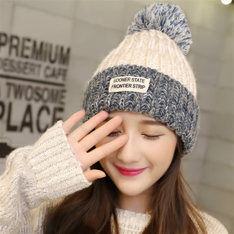 2Pcs 2017 Spring Winter Beanies Hats For Women Ladies Knitted Crochet Hat Pompons Ear Protect Casual Cap Gorros Mujer Invierno winter women beanies pompons hats warm baggy casual crochet cap knitted hat with patch wool hat capcasquette gorros de lana