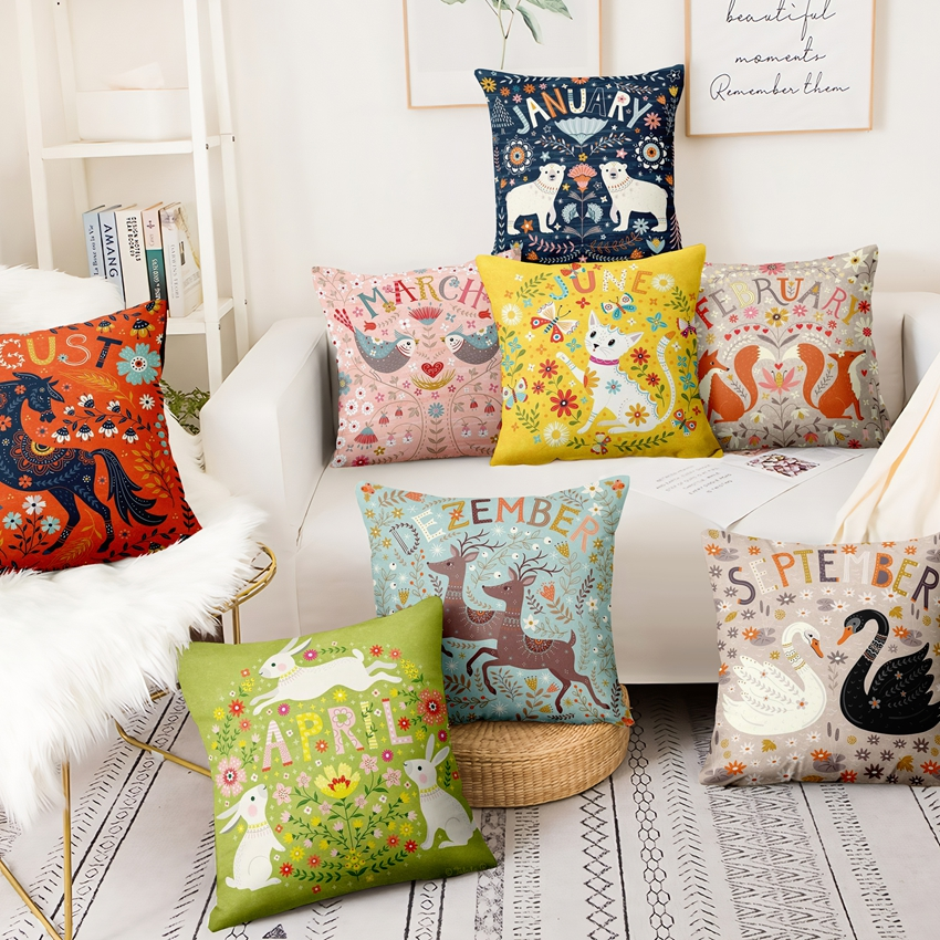 Christmas Pillow Decorations Scandinavian Cute Animal Illustrations Cushion Decorative Pillows Almofadas Decorativas Para Sofa