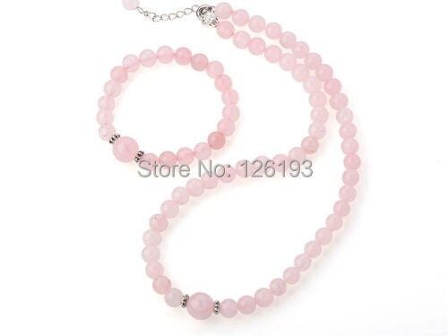 128a7e921 لطيفة إلهام نقية الوردي الكوارتز قلادة مطابقة سوار مجوهرات مجموعة