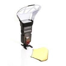 Uniwersalny Bounce odblaskowe dyfuzor Softbox z srebrny/złoty/biały 3 kolor reflektor dla lampy błyskowej Speedlite