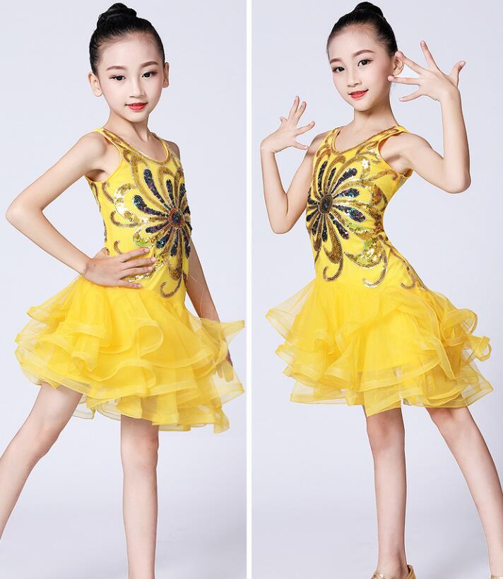 Children Professional Latin Dance Dress For Girls Ballroom Dance Competition Dresses Kids Modern Waltz/tango / Cha Cha Costumes