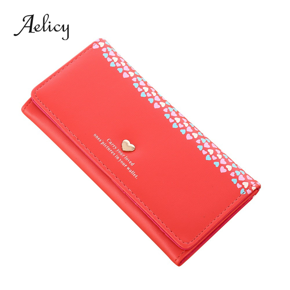 Aelicy High Quality Women Love Heart Pattern Coin Purse Long Wallet Card Holders Handbag PU Leather Crossbody Tote Bag 2