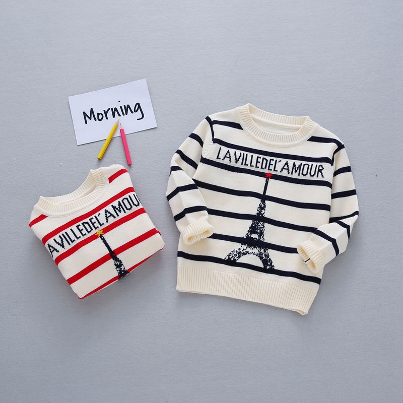 2017 Autumn England Style Baby Boys Long Sleeve O Neck Striped Tower Knitwear Children Kids Pullover Sweaters roupas de bebe