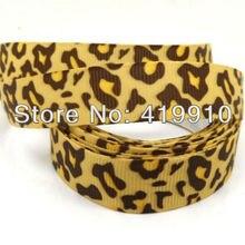 Coffee 5 Yards  Leopard 16mm Wide Wedding Craft Printed Grosgrain Ribbon
