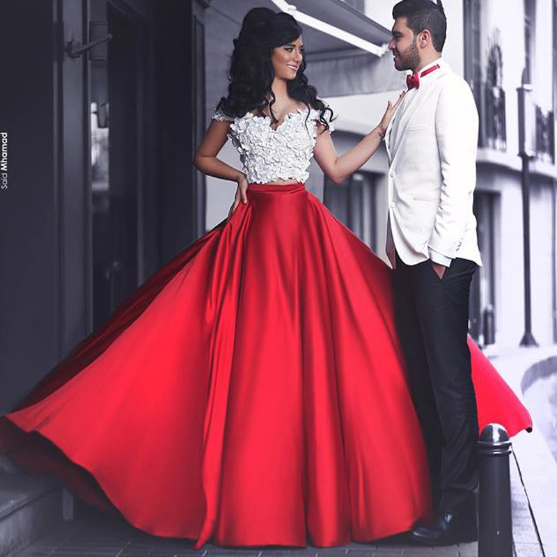 fashion elegant red white two piece prom dress 2016 cap sleeve ...