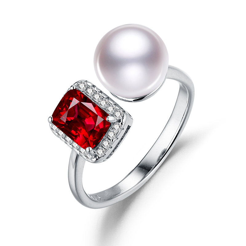 SNH new 8.5 9mm near round AAA 925 sterling silver genuine cultured pearl ring with ruby free shipping