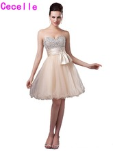 New Hot A-line Short Champagne Homecoming Dresses Sweetheart Beading Tulle Teens Short Prom Party Dresses For Girls Custom Made