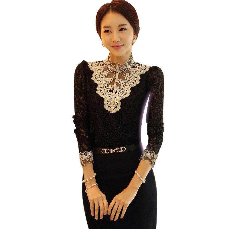 2018 Fashion Women Blouses Shirts Elegant Black White Crochet Lace Turtleneck Petal Full Sleeve Blouse Shirt Chemise Ladies Tops