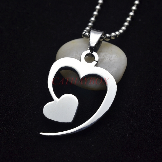 Aliexpress Buy Silver Tone Stainless Steel Double Heart Symbol